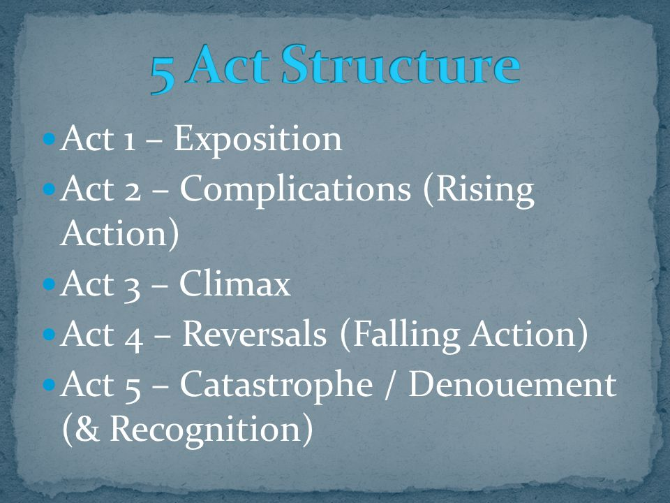 5 Act Structure Act 1 – Exposition
