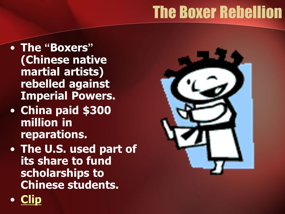 The Boxer Rebellion The Boxers (Chinese native martial artists) rebelled against Imperial Powers.