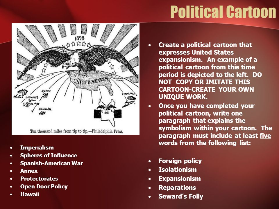 Political Cartoon Imperialism. Spheres of Influence. Spanish-American War. Annex. Protectorates.