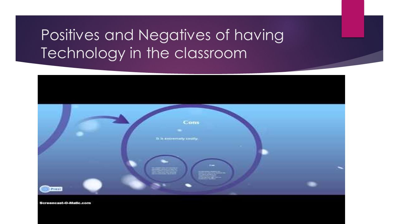 Positives and Negatives of having Technology in the classroom