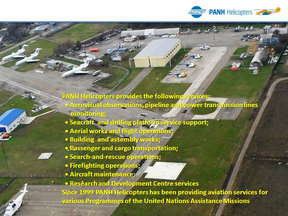 PANH Helicopters provides the following services: