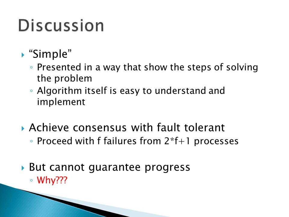 Discussion Simple Achieve consensus with fault tolerant