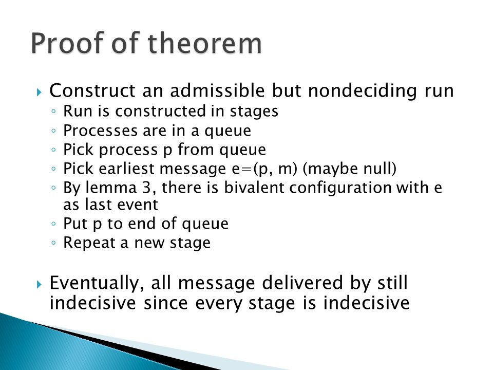 Proof of theorem Construct an admissible but nondeciding run