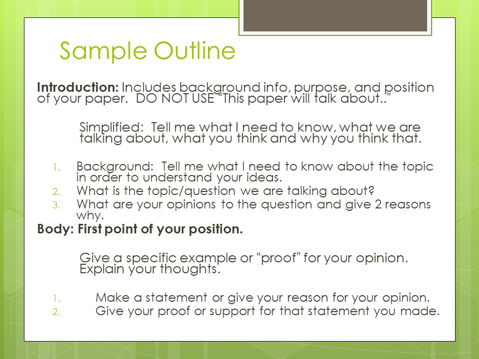 Sample Outline Persuasive Outline: