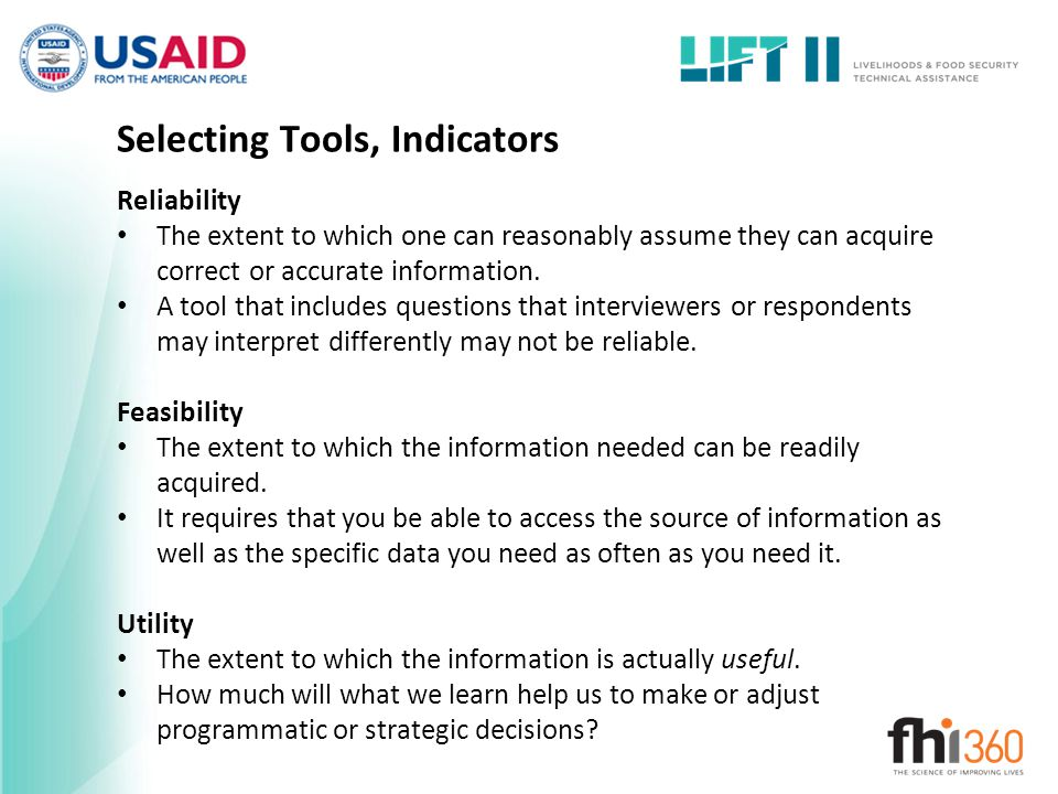 Selecting Tools, Indicators