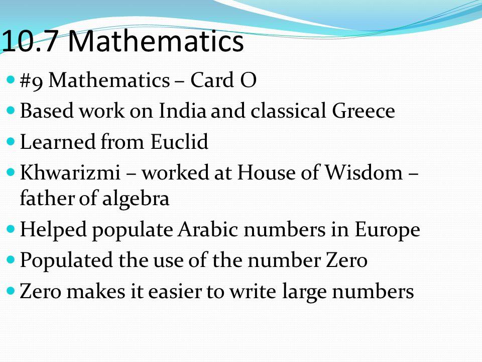10.7 Mathematics #9 Mathematics – Card O
