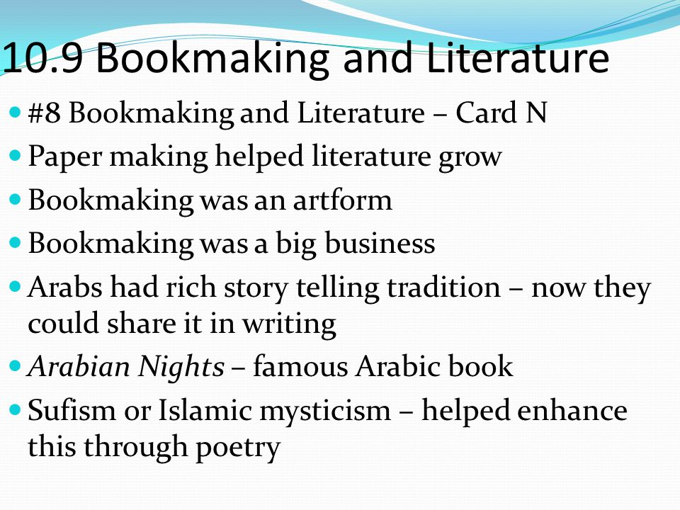 10.9 Bookmaking and Literature