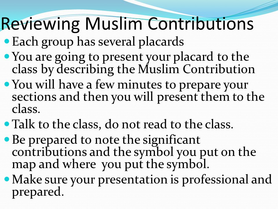Reviewing Muslim Contributions