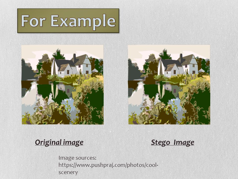 For Example Original image Stego Image