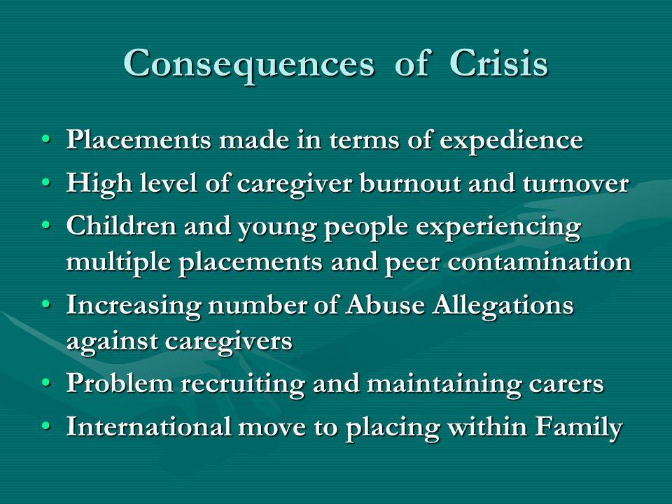 Consequences of Crisis