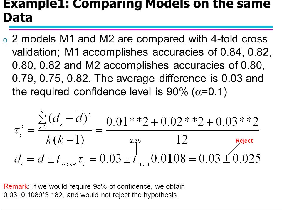 Example1: Comparing Models on the same Data