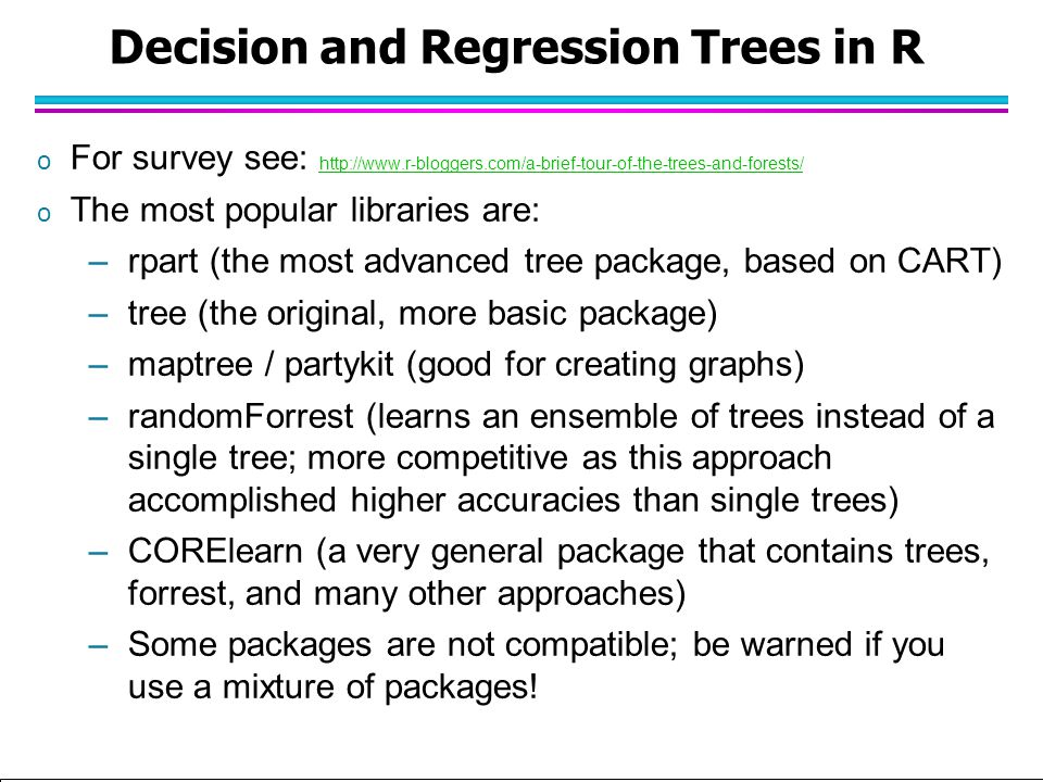 Decision and Regression Trees in R