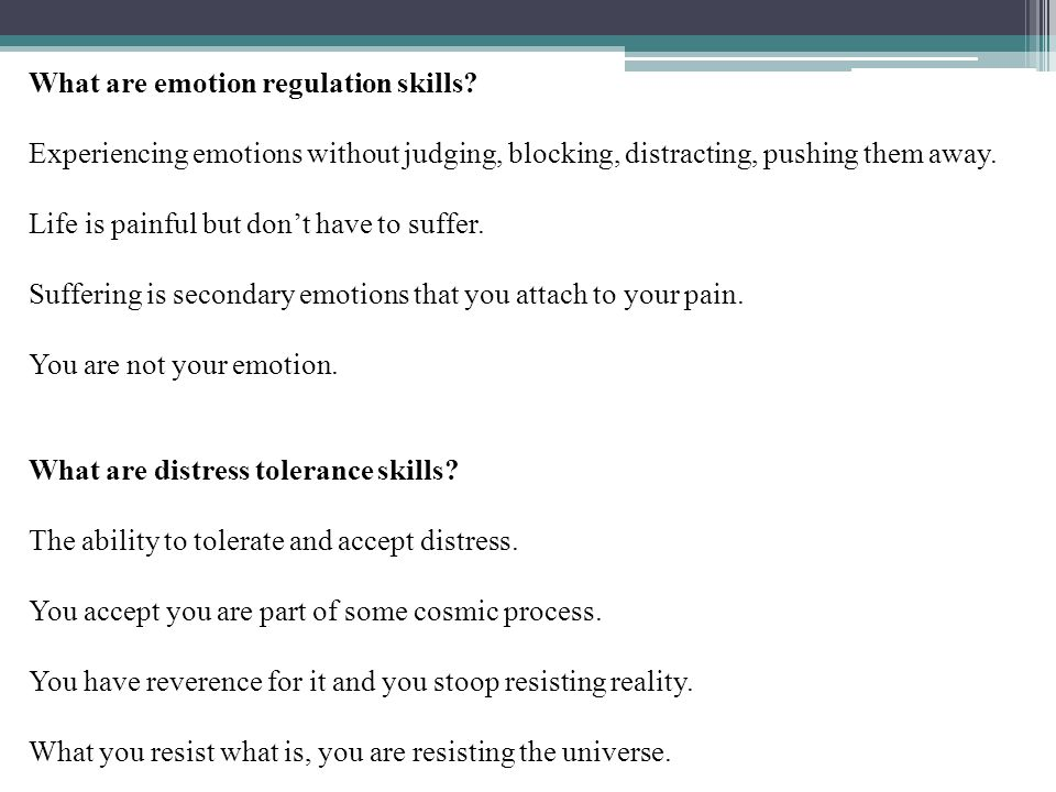 What are emotion regulation skills