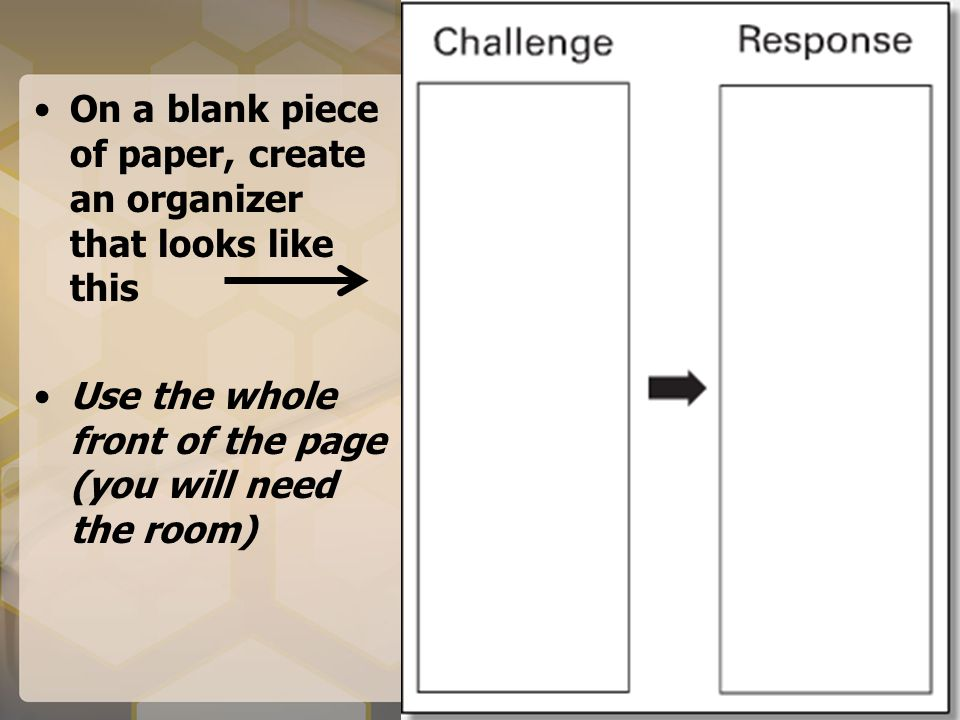 On a blank piece of paper, create an organizer that looks like this