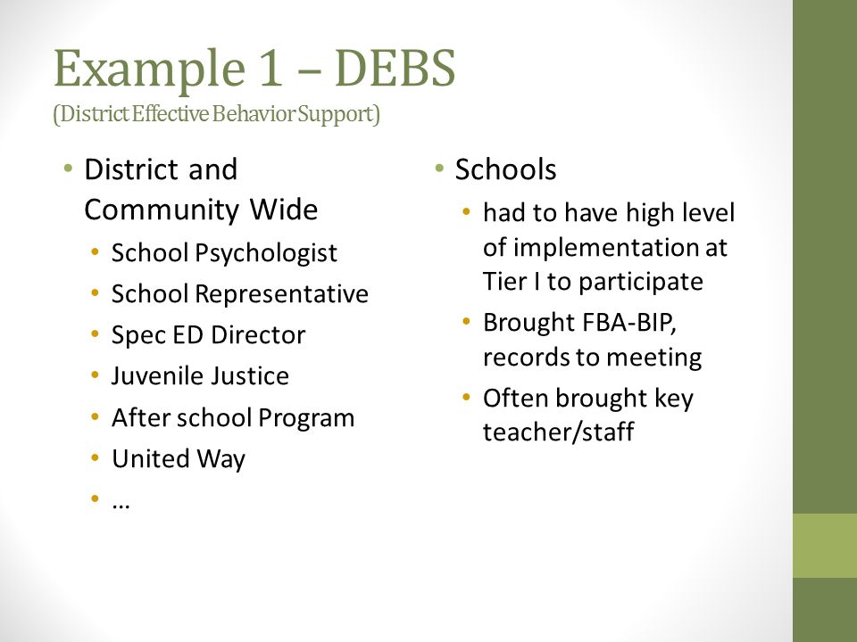Example 1 – DEBS (District Effective Behavior Support)
