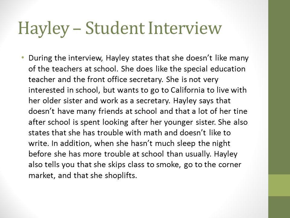 Hayley – Student Interview