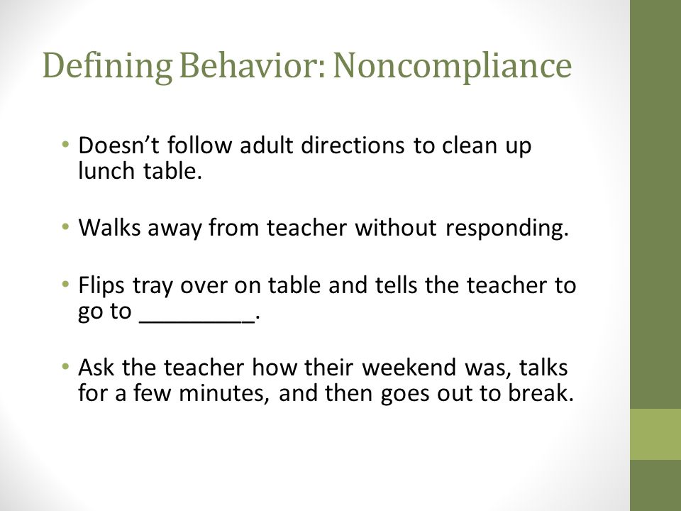 Defining Behavior: Noncompliance