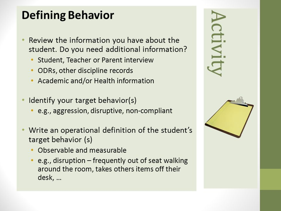 Activity Defining Behavior
