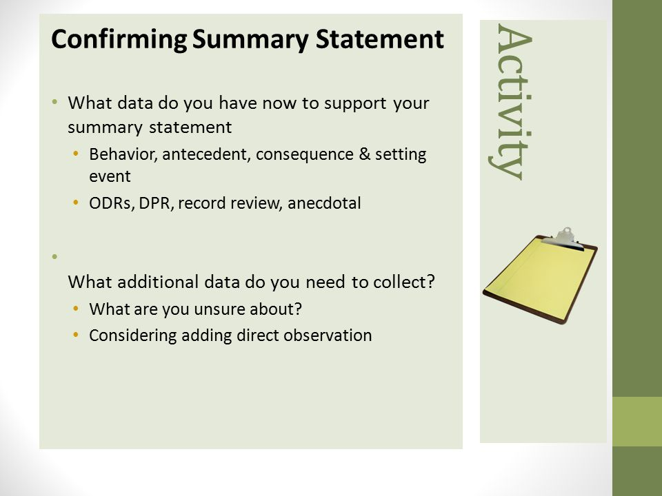 Activity Confirming Summary Statement