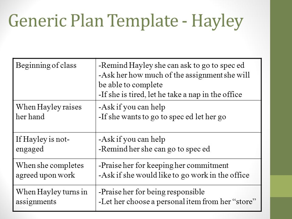 Generic Plan Template - Hayley
