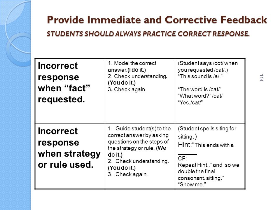 Provide Immediate and Corrective Feedback STUDENTS SHOULD ALWAYS PRACTICE CORRECT RESPONSE.