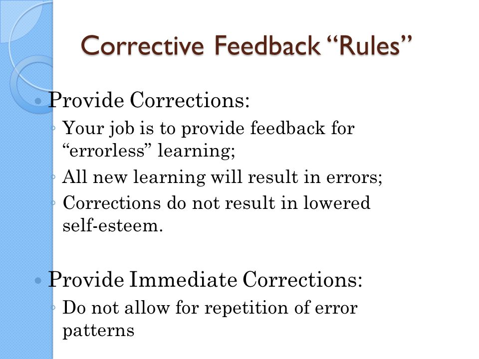 Corrective Feedback Rules