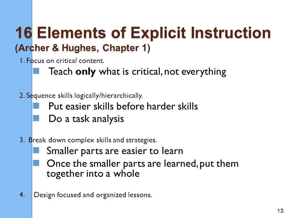 16 Elements of Explicit Instruction (Archer & Hughes, Chapter 1)