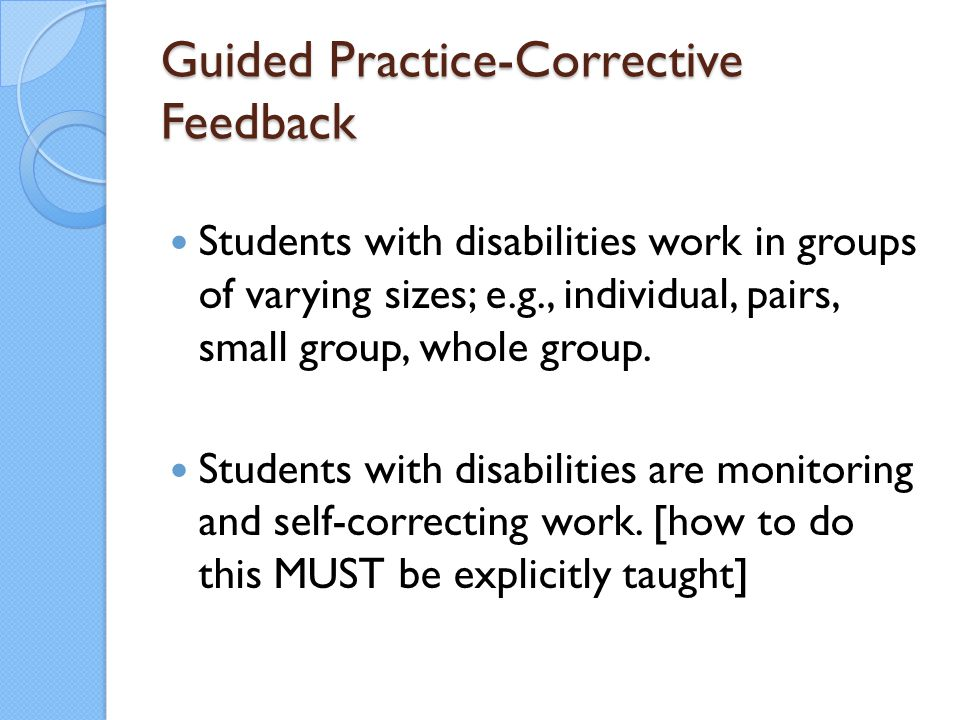 Guided Practice-Corrective Feedback