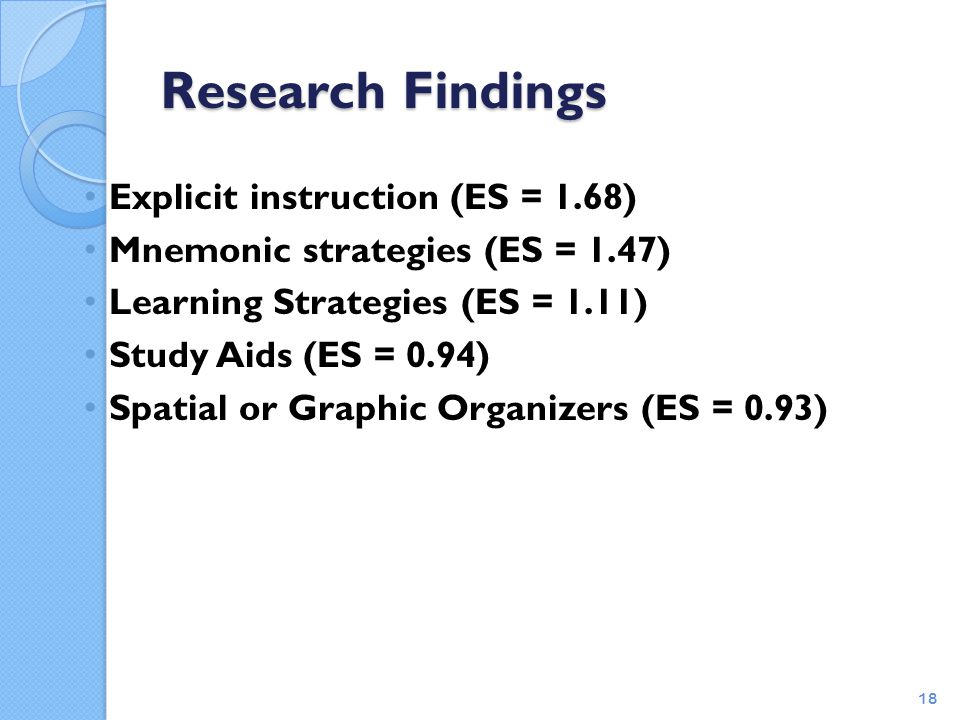 Research Findings Explicit instruction (ES = 1.68)