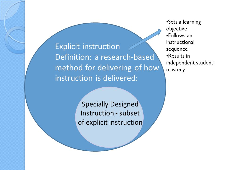 Specially Designed Instruction - subset of explicit instruction