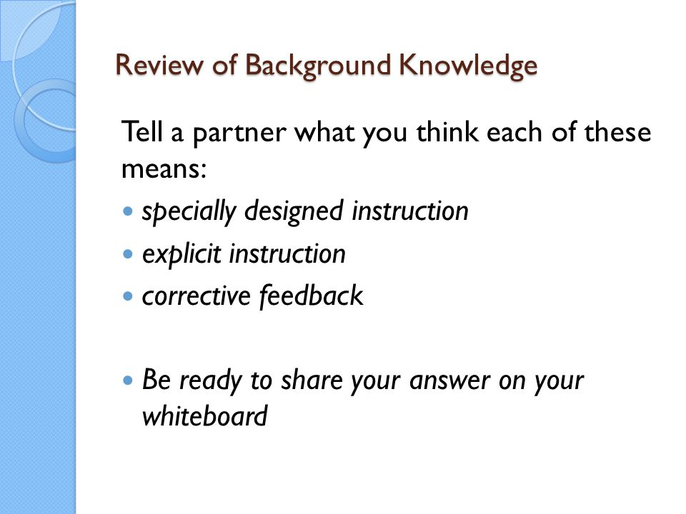 Review of Background Knowledge