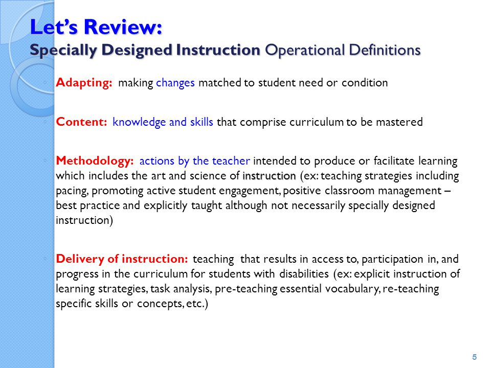 Let's Review: Specially Designed Instruction Operational Definitions