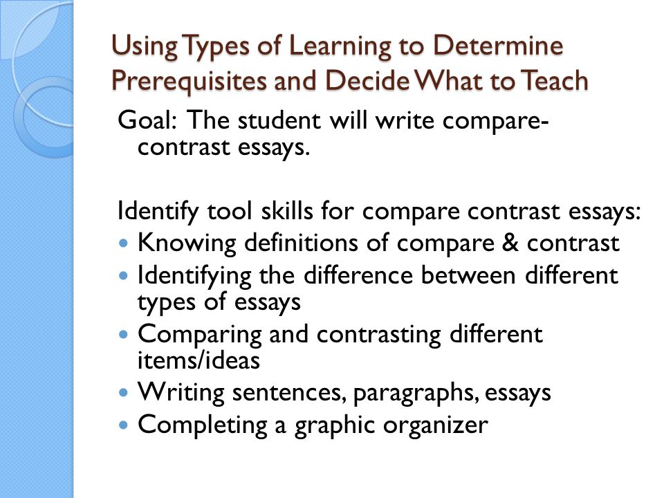 Using Types of Learning to Determine Prerequisites and Decide What to Teach