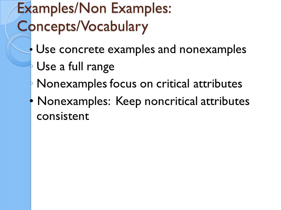 Examples/Non Examples: Concepts/Vocabulary