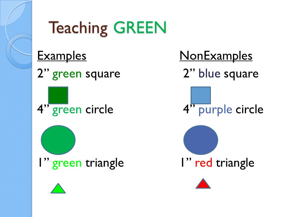 Teaching GREEN Examples NonExamples 2 green square 2 blue square 4 green circle 4 purple circle 1 green triangle 1 red triangle