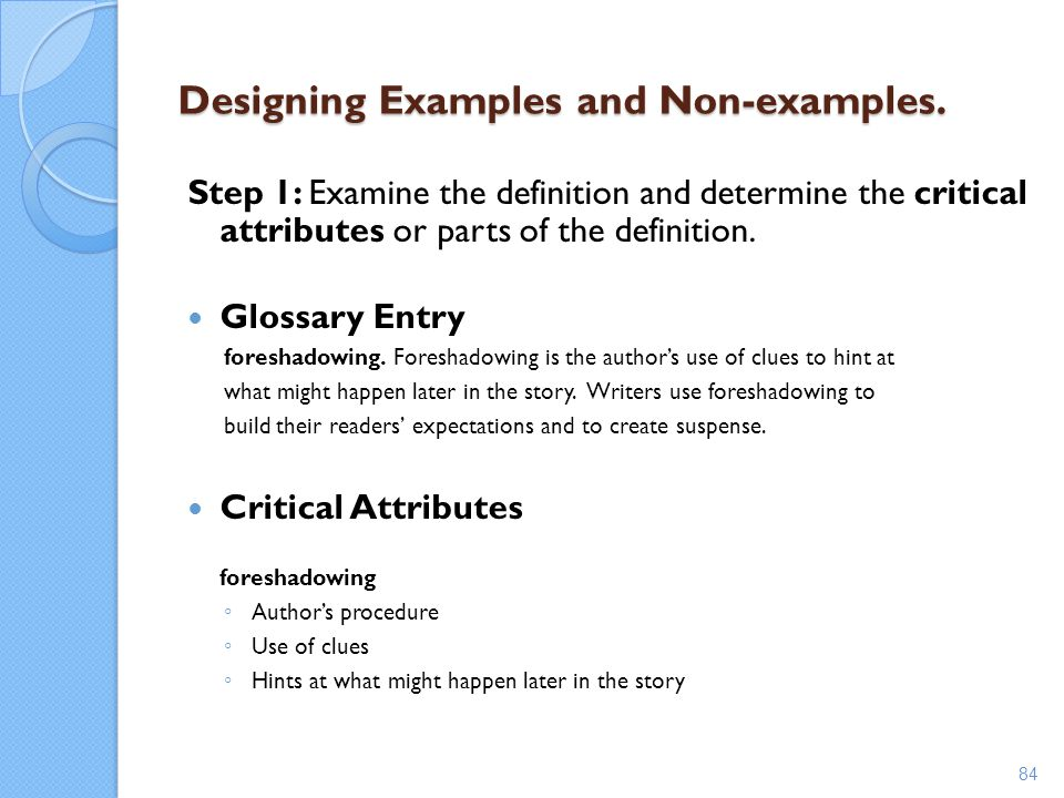 Designing Examples and Non-examples.
