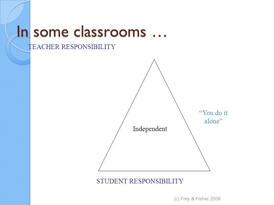In some classrooms … TEACHER RESPONSIBILITY You do it alone