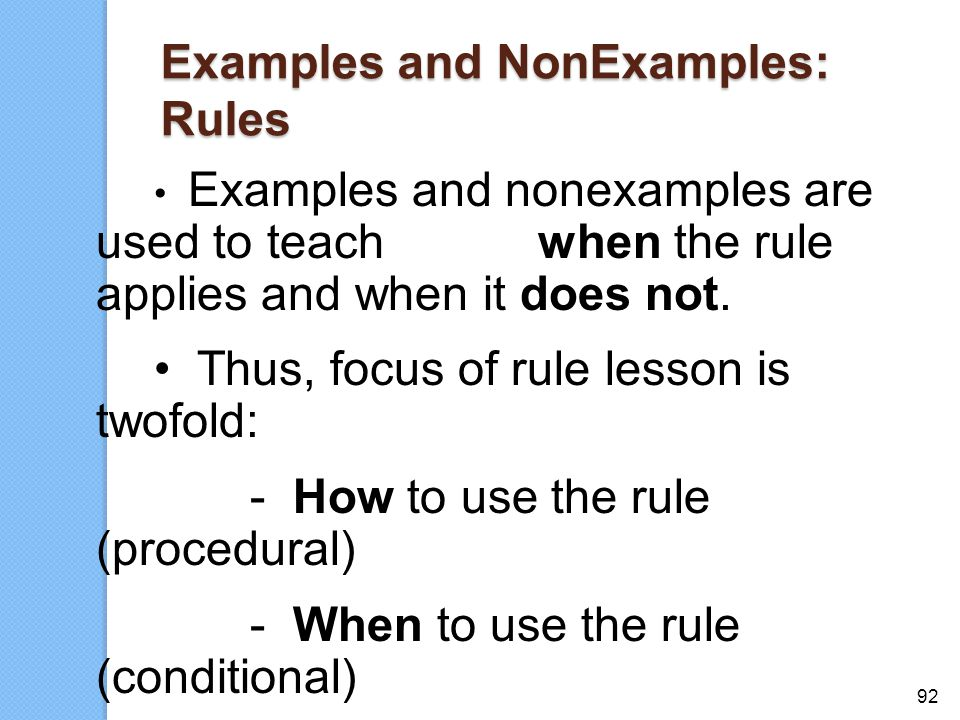 Examples and NonExamples: Rules