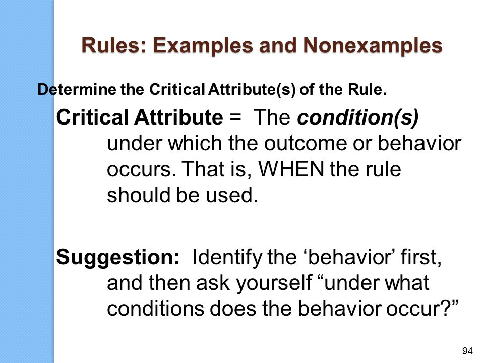 Rules: Examples and Nonexamples