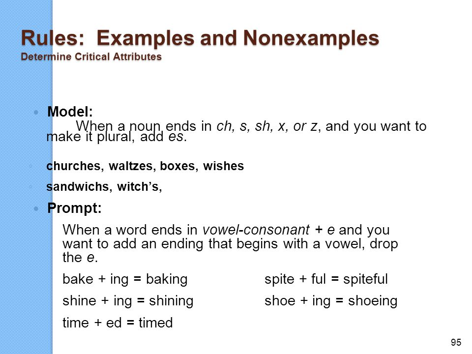 Rules: Examples and Nonexamples Determine Critical Attributes