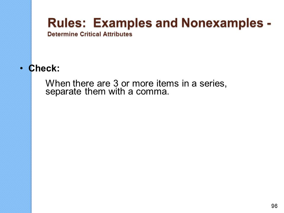 Rules: Examples and Nonexamples - Determine Critical Attributes