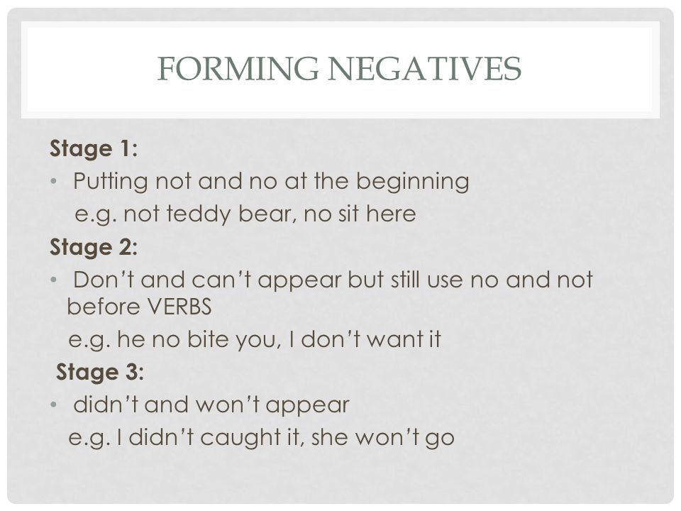Forming negatives Stage 1: Putting not and no at the beginning
