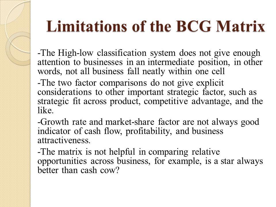 Limitations of the BCG Matrix