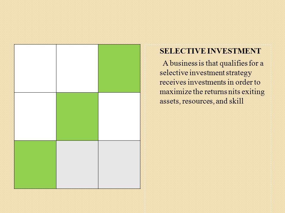 SELECTIVE INVESTMENT A business is that qualifies for a selective investment strategy receives investments in order to maximize the returns nits exiting assets, resources, and skill