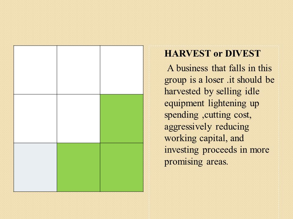 HARVEST or DIVEST A business that falls in this group is a loser