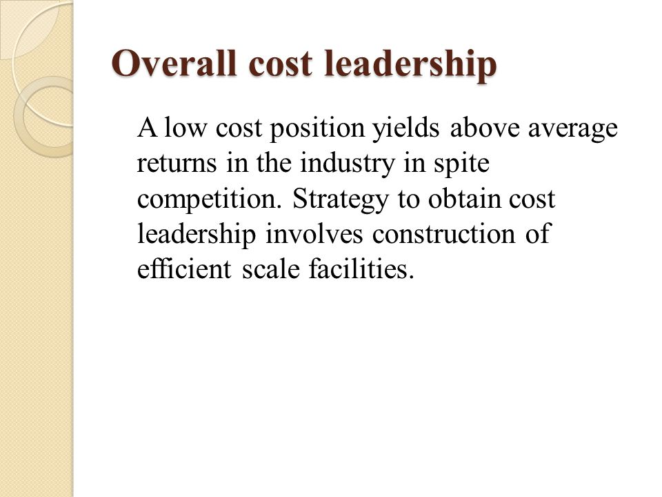 Overall cost leadership