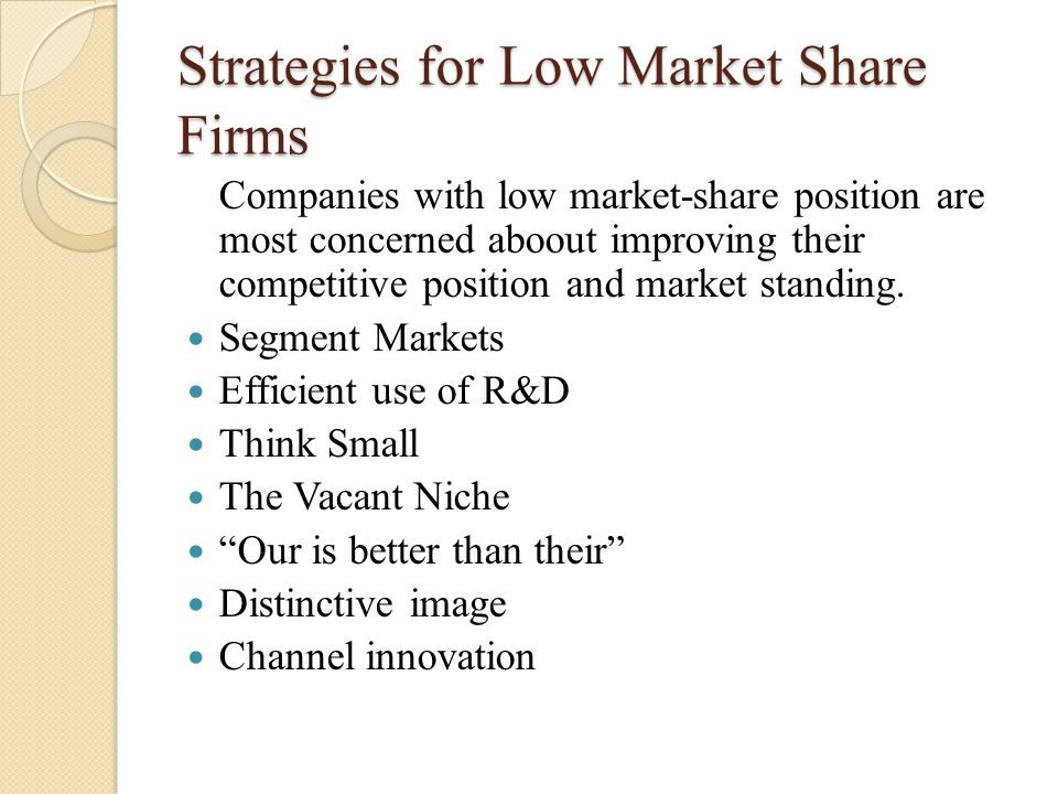 Strategies for Low Market Share Firms