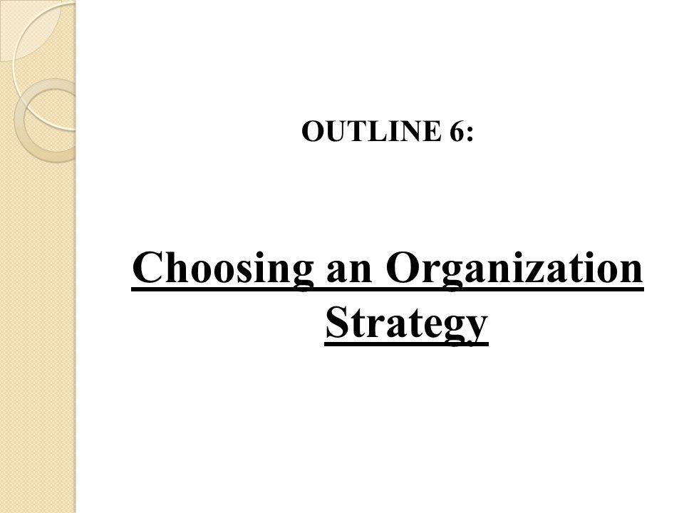 Choosing an Organization Strategy