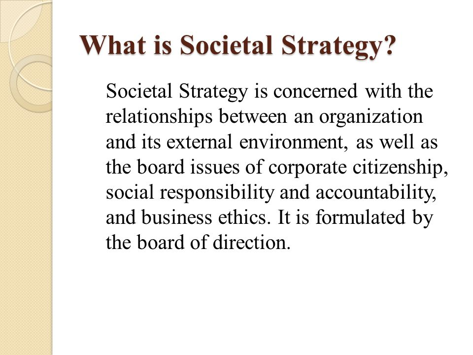 What is Societal Strategy