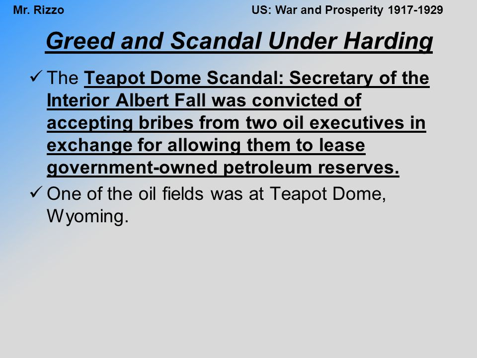 Greed and Scandal Under Harding